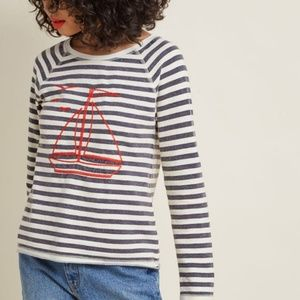 ModCloth Unstoppably Nautical Long Sleeve Top S